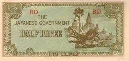 BURMA 1/2  RUPEE ND (1942) P-13b AU/UNC  [BMM0305a] - Myanmar
