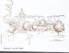 Mignault : Vue D'artiste Du Village (Signée Regnier) - Vieux Papiers