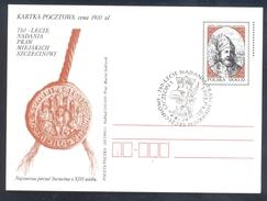 Poland Postal Staionery Card 1993: Fauna Eagle Adler Aigle Aquila; 750 Years Of Granting The City Rights Szczecin - Adler & Greifvögel