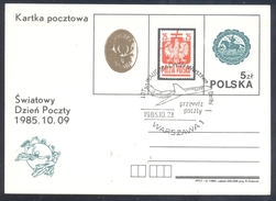 Poland Postal Staionery Card 1985: Fauna Eagle Adler Aigle Aquila, UPU World Postal Day; Postman On Horse Horn - Adler & Greifvögel