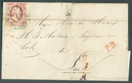 N°2 - 10 Cent. Carmin, TB Margé, ObL. Sc MAASTRICHT 17/7 1863 Franco Sur Lettre + Boîte Rurale (postbus Q) Vers Liège (B - 1852-1890 (Wilhelm III.)