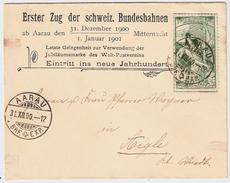 Schweiz, UPU, Letzter Tag-Sonder Kouvert :Eintritt Ins Neue Jahrhundert!  , #8252 - 1882-1906 Wappen, Stehende Helvetia & UPU