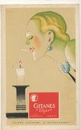 Art Deco Pub Belle Femme Allumant Cigarette à La Bougie Pub Gitanes Vizire - Publicité