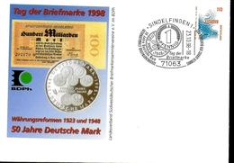 ALLEMAGNE   Lettre  PAP 1998   Sindelfingen  Piece Monnaie Mark - Münzen