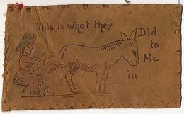 Leather Card P. Used Virginia USA 1906 Donkey Carte En Cuir Voyagé En 1906 - Donkeys