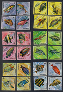 BURUNDI PESCI SERIE COMPLETA TIMBRATA 24v  Fauna Marina Ingiallimenti Cod. Fra.978
