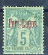 Port Lagos 1893 N. 1 C. 5 Verde MH Cat. € 35 - Port Lagos (1893-1931)
