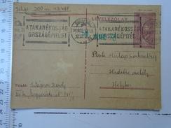 D150084  Hungary Postal Stationery  -1943 - Propaganda Handstamp -A Takarékossag Orszagépítés -Wagner Karoly