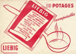 Buvard : LIEBIG, 10 Potages Incomparables, Cuillère, Poulet, Champignons, Asperges, Pâtes, Tomates, Poireaux, Riz... - Soups & Sauces