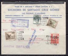España 1937. Canarias. Carta De Las Palmas A Braunschweig. Censura. - Marcas De Censura Nacional