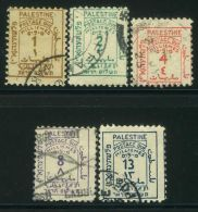 PALESTINE (  TAXE  ) : Y&T N°  1/5   TIMBRES  BIEN  OBLITERES  , A  VOIR . - Palestine