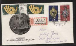 Bund - MiNr. 764, 765 + 768 (2x) Auf R-Brief Mit Sonder-R-Zettel + SST MÜNCHEN 14.5.1973 - IBRA München 1973