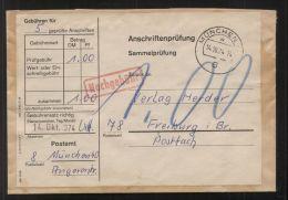 Bund - 100 Pf. Nachgebühr Auf Sammel-Anschriftenprüfung - Gelaufen MÜNCHEN 14.10.1974