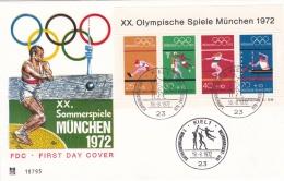 Germany FDC 1972 XX. Summer Olympic München Souvenir Sheet (T13-1A)