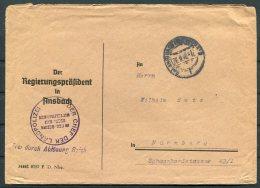 1946 Germany 'Frei Durch Ablosung' Ansbach Landpolizei Police Cover - Ohne Zuordnung