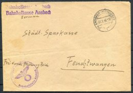 1946 Germany 'Frei Durch Ablosung Reich' Ansbach Bahnhofkasse Cover - Stadt Sparkasse - Deutschland