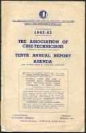 1942-43 The Associations Of Cine-Technicans 10th Annual Report Agenda Document. Cinema Film TUC Trade Union - Books, Magazines, Comics
