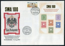 1984 SWA Namibia Windhoek Philatelic Exhibition Souvenir Sheet Deutsche Reich Eagles Cover - Namibia (1990- ...)