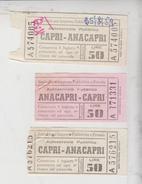 Capri Anacapri Ticket Biglietto Buillet Soc. Imprese Pubbl. Private 1959  Gg - Bus