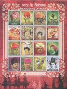 INDIA, 2017, MNH, HEADDRESSES OF INDIA, TURBANS, CAPS, HORNS, FEATHERS, MOUNTAINS, SHEETLET