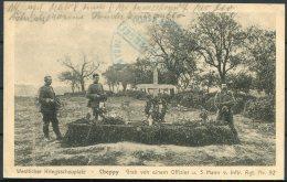 1915 Belgium Germany Westlicher Kriegsschauplatz Cheppy Postcard K.D. Feldpost 92 Marine Sonderkommando