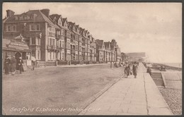 Seaford Esplanade Looking East, Sussex, 1924 - H & E Portsmouth Postcard - Otros