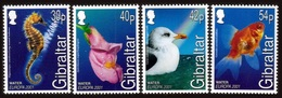 GIBRALTAR 2001 EUROPA WATER BIRDS FLOWERS FISH SEAHORSE SET MNH