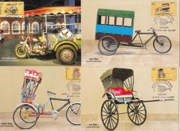 'Means Of Transport' Series, 4 Maxicard, Maximum, Motorcycle Rikshaw, Cycle Rickshaw, Hand & School, 2017