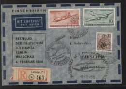 DDR - MiNr. 442, 513 + 515 Auf Lufpost-R-Brief - Lufthansa-Erstflug Berlin-Warschau - 4.2.1956