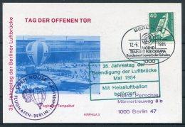 1984 Germany Berlin Flughafen Open House Ballon Postcard. Berlin Airlift 35th Anniversary / Jugend Olympia Schulen - Airships