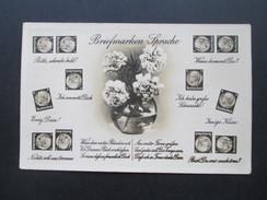AK 1930er Jahre Deutsches Reich Hindenburg. Briefmarkensprache. Blumenstrauß. Amag. Echtfoto - Stamps (pictures)
