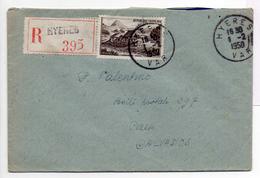 - FRANCE - Lettre Recommandée HYERES (Var) Pour CAEN (Calvados) 1.2.1950 - A ETUDIER - - Postmark Collection (Covers)