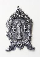 """Très Beau Petit Autel Portatif / Pendentif Fin XIXe """"Vierge Marie Entourée De 2 Fleurs De Lys"""" Religious Medal - Religion & Esotérisme"""
