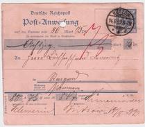 DR, 1892, Postanweisung, Bedarf , #8236