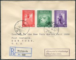 1939 Iceland New York World Fair Registered First Day Cover, FDC - 1918-1944 Administration Autonome