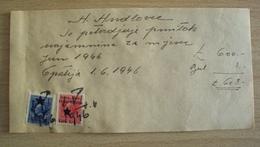 ISTRIA CROAZIA SLOVENIA MARCHE FISCALI ISTRA LITORALE SLOVENO 2 LIRE+ 1 LIRA  RIJEKA SU RICEVUTA DA ABBAZIA 1946 REVENUE - Non Classificati