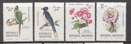 BIRDS Vogel Oiseaux Flowers 1976 Argentina Mi 1272-1275 MNH (**) #6024