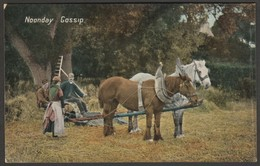 Noonday Gossip, Horse-Drawn Threshing Machine, C.1905 - Valentine Postcard - Teams