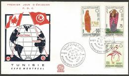 Tunisie 1967 611-12 + 615 FDC Expo Montréal Costumes Régionaux Flamants Roses - Niger (1960-...)
