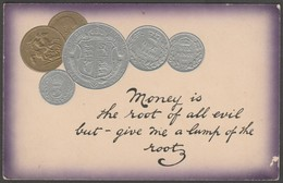 Money Is The Root Of All Evil, British Coins, 1911 - National Series Postcard - Coins (pictures)