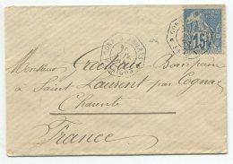 N°51 + Cachet Octogonal Correspondant D'armée  Saïgon / Lettre Pour St Laurent Par Cognac (charente)