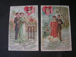 2 AK Lot Engel, Liebe Poesie 1907 - Engel