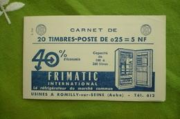Couverture Carnet Publicité Réfrigérateur Frimatic Romilly Sur Seine Transport Camion Avion Calberson Burroughs - Carnets