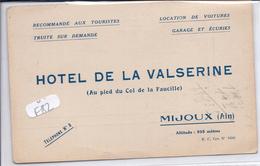 MIJOUX-- CARTE-PUB-- HOTEL DE LA VALSERINE-- - France