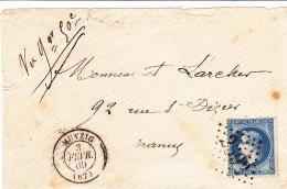 67 BAS RHIN - MUTZIG - 1869 - Marcofilia (sobres)