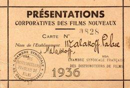 CARTE DE 1936 - CINEMA - 92 - MALAKOFF - ETABLISSEMENT MALAKOFF PALACE - CHAMBRE SYNDICALE DES DISTRIBUTEURS DE FILMS - Artigianato