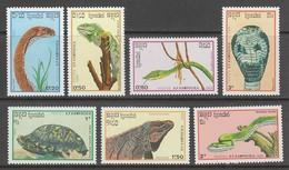 SERIE NEUVE DU KAMPUCHEA - LES REPTILES N° Y&T 844 A 850 - Reptiles & Batraciens