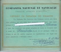 Paquete 'Príncipe Perfeito' Da Companhia Nacional Navegação CNN. Certidão Da Passagem Do Equador 1965. Raro. - Transport