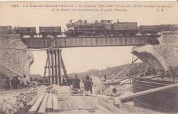 CHEMIN DE FER TRAIN GARE LE PONT DE TRILPORT DETRUIT  CPA BON ÉTAT - Stations With Trains