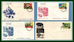 4 FDC Ceylan Centenaire Tea Industry 1967 Agriculture Thé